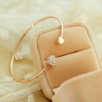 Fsunion Arrival 2021 Fashion Adjustable Crystal Double Heart Bow Bilezik Cuff Opening Bracelet for Women Jewelry