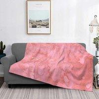 Coperte Acquerello rosa e rosa in oro marmo vendita stampa personalizzata flanella flanella morbida coperta pietra gemma minerale rockhound pietre preziose