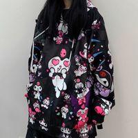 2021 Yeni Deeptown Kuromi Moletom Kawaii Moda Feminina Anime Hoodie Manga Longa Bonito Pulver Feminino Solto Preto Rosa Zip Up Hoodies Lo5j