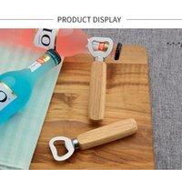 NEWSimple non-porous wooden handle stainless steel bottle openers household bar beer soda opener LLD9177