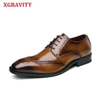 XGRAVITY Cow Genuine Leather Round Toe Men's Shoes Carved Bullock Fashion Spring Autumn Men Shoes Dress Business Shoes Man A165 210429