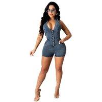 Playssuiti con scollo a V Deep Jeans Denim Body Sexy Backless Pagliaccetti da donna Tuta da donna Pantaloncini Pluss Plus Size