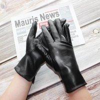 Cinq doigts Gants Bickmods Femmes Noir Mode Touchble Numéro Numéro Stroit Style Droit En Cuir Véritable Section mince en peau de mouton