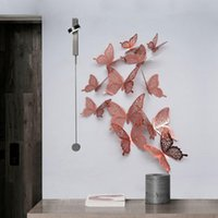 Wall Stickers 12pcs DIY Hollow Butterfly Sticker Home 3D Wallpaper Room Window Decor Bedroom Art Decoration Delicate Practical