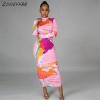 ZooEffbb Carte esthétique imprimée élégante manche longue manche midi robe molleforme sexy anniversaire tenues pour femmes vêtements tendance salon usure