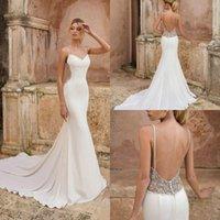 Gorgeous Mermaid 2021 Satin Wedding Dresses Bridal Gowns Spaghetti Straps Backless Luxury Beads Sweep Train Beach Country robe de mariée Gown