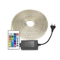 Strips LED Strip 220V 1m 5m 10m 15m azul / rojo / rgb luz 60leds / m Striscia Lámpara de silicona impermeable 10 mm Ancho Tira