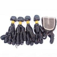 Aunty Funmi Virgin Peruvian Hair 4x4 레이스 폐쇄 5pcs 로트 Bouncy Curls Peruuf Funmi Hair 폐쇄 중간 부분