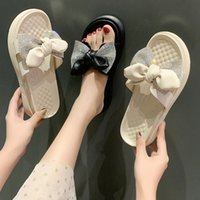 2021 Korean Summer Slippers Fresh Round Head Sequins Beach Bow Pure Color Flat Casual Women's Shoes