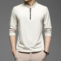 Men's Polos 2021 Zipper Shirts Men Cotton Solid Color Full Sleeve Tee Shirt High Quality Slim Fit Casual Camisa T994