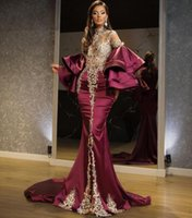 2021 Sparkly Arabic Aso Ebi Mermaid Evening Dresses Crystals Beaded High Split Prom Dress Formal Party Second Reception Gowns Dress Plus Size Champagne Burgundy