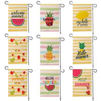 Padrão de fruta verão flax jardim bandeira olá verão melancia limão abacaxi impresso lado duplo impresso jardim bandeira decoração GGA4233