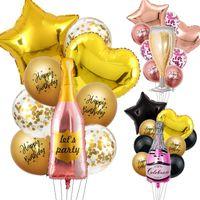 Parti Dekorasyon 40 inç Şampanya Balonları Mutlu Doğum Günü Siyah Altın Lateks Süslemeleri Bira Rosegold Babyshower Alüminyum Folyo Büyük Balon