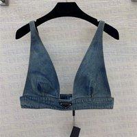 Женские дизайнеры футболки нижнее белье с металлическим треугольником значок сексуальный глубокий V джинсовые слинг трубки топы женская одежда