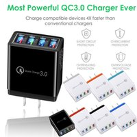 Good qualtiy 4 Port Fast Quick Charge USB Hub Wall Charger Power Adapter EU   US Plug Travel Phone Battery chargers for iphone 11 12 Samsung LG