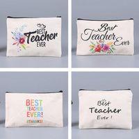 Bolsas cosméticas en blanco de sublimación Cajas de lápices con cremallera de lona para mujer Muchas de maquillaje Moda bolso de mano