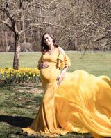 أنيقة الكتف للأمومة التصوير الدعائم فستان طويل للنساء الحوامل يتوهم الحمل اللباس ماكسي ثوب الصورة تبادل لاطلاق النار