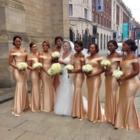 Bridesmaid Dress African Off The Shoulder Mermaid Bridesmaids Dresses 2021 Gold Floor Length Sleeveless Sexy Black Girl Wedding Guest Prom