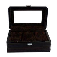Boîtes de montre Étuis de luxe 3 emplacements d'affichage en bois, organisateur de bijoux en garniture de verre