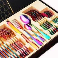 DinnerWares Set 24 PCS Rainbow Stoviglie da tavola Non sbiadito Posate Set posate Posate in acciaio inox Colorato El Party Confezione regalo da cucina