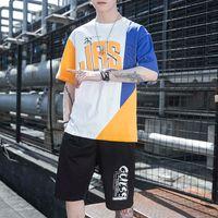 Men Summer Sports Clothing Sets Training Packages Hip Hop Losse Sets Jogger Packages For Men Cato Patchwork T-shirt + Shorts Sets