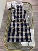 2021 Plaid Tweed Halter Senza maniche Designer Dress Designer Leone Pulsanti in metallo Pulsanti Pista Pista Dress Elescente Abito da celebrità 202107