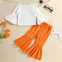 Clothing Sets 2 Pcs Infant Baby Girls Coral Fleece Outfits Off Shoulder Flare Sleeve Pullover + Flared Pants