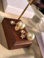 2021 Luxusdesigner Pearl Ohrstecker 18K Goldabschelle für Dame Frauen Party Hochzeit Liebhaber Geschenk Engagement Ware