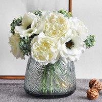 Schöne nordische Pfingstrose Künstliche weiße Seide Blumen Handgeschrieben Anemone Blumenstrauß Hochzeit Wohnkultur DIY Scrapbook Gefälschte Blumen Y0728