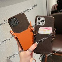 Luxus-Mode-Telefon-Fälle für iPhone 12 12PRO MAX 11 11PRO XS XR XSMAX 7/8 plus hochwertiger Designer-Leder-Kartenhalter-Mobiltelefonkoffer mit Riemen