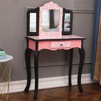 Schlafzimmermöbel Kreative NordicThree-Fold-Spiegel Einzelne Schublade Bogen-Füße Kinder Kommode Roter Leoparden-Druck-Dressing-Tisch