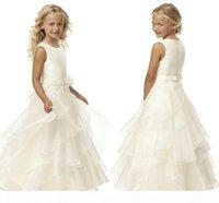 Venda quente Uma linha Scoop Ivory Organza Organza Flower Girl Dresses Comprimento do Assoalho Flower Belt Flower Vestidos para casamento HY1282