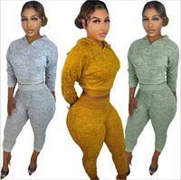 Women's Two Piece Pants Women Set Tracksuit Solid Color Long Sleeve Elastic Crop Top Causal Trouser High Waist Leggings Workout