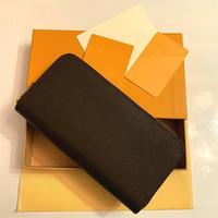 Venta al por mayor 6 colores Fashion Wallet Individual Zipper Designer Hombres Mujeres Cuero Cartera Lady Ladies Long Bolso con caja de caja naranja 60017