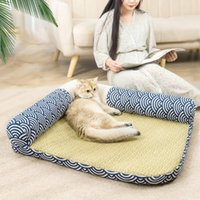 Cat Beds & Furniture Summer Dog Cushion Mat L t-Shaped Pillow Washable Quilt Cover Detachable Cool Soft Lying Rattan Supplies