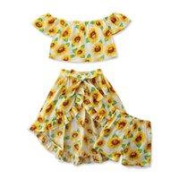 Opperiaya 아기 소녀 3 조각 여름 세트 아이 해바라기가 어깨 탑스 반바지 스커트를 껍질을 벗기는 아이들을위한 밑단