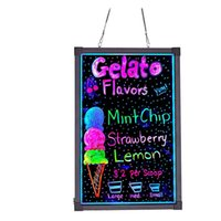 """LED Neon Sign Drawing Painting Board - 28"""" x 20"""" Erasable Non Porous Glass Surface with for Chalkboard Blackboard Whiteboard Bulletin Letter Spelling Menu Boards"""