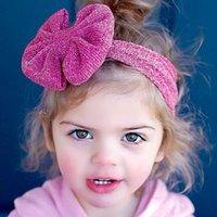 Girls Headbands Big Arcos Big Niños Accesorios para el cabello Bowknot Hairbands Elástico Sólido Silver Alambre Ancho DIEADA 10 COLORES KHA513