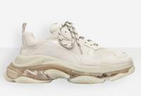 Pares Triple S Clear Crystal Borracha Arco-íris Bottom Designer Sapatos de Borracha Sneakers Triple SE Pares Homens Mulheres Papai Plataforma Sapatos