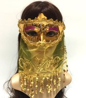 Children's Annual Party Halloween Christmas Mask Belly Dance Masquerade Adult Get Together Indian Style With Veil Gold Powder Sequins