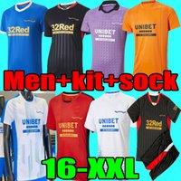 Rangers 21 22 Jerseys de football Toute troisième Glasgow Formation Defoe Hagi Barker Morelos Tavernier 2021 2022 Maillot Shirt de football Hommes + Kit
