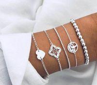 Link, Chain XiaoboACC 2021 Jewelry Love Heart Hollow Lotus Tassel Leaf Beaded Bracelet Set Boho Wholesale