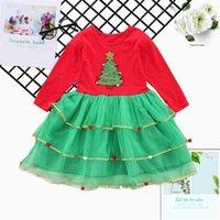 Christmas Kids Dress Sequin Xams Tree Gauze Skirt Fashion Children's Patchwork Girls Dresses Long Sleeve Party Snowman Santa Clothes G00AWER
