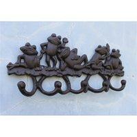 Navidad y festivales Decoración 2 piezas de hierro fundido decorativo 5 encantador ranas abrigo perchero con 5 ganchos titular de percha