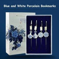 Bookmark Chinese Folk Style Metal Bookmarks Vase Dragon Phoenix Lotus Flowers Patterns Blue And White Porcelain Luxury Gift