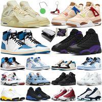 Basketball Shoes Basketbol Ayakkabıları 4s Wild Things Yelken Kara Kedi Üniversite Mavi 1s Fragman El Yapımı 13s Court Mor Koyu Toz Hiper Royal Del Sol Erkek Kadın Spor Ayakkabı
