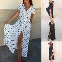 Women's Summer Dresses Fashion Casual Short Sleeve V-neck Low Cut Printed Polka Dot Dress Ladies Elegant Solid Party Dress