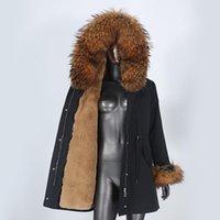Faída de las mujeres Faux CXFS 2021 impermeable Largo Parka Abrigo Real Chaqueta de invierno Mujeres Mapache Natural Cuello con capucha Ropa de abrigo desmontable