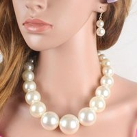 Grandes grânulos de pérola colar de jóias conjunto mulheres vestido de casamento acessórios longos kit de jóias pingente colares de pérola brincos