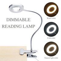 LED-Schreibtischlampe mit Klemme Dimmable Leselicht Eye-Care-USB-Tischlampe LED-Bett-Bett-Lampe Baby-Nachtlicht-Clip